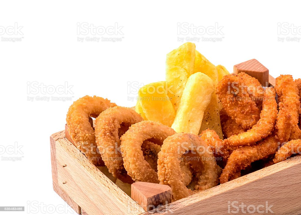 fries and chicken nugget stock photo