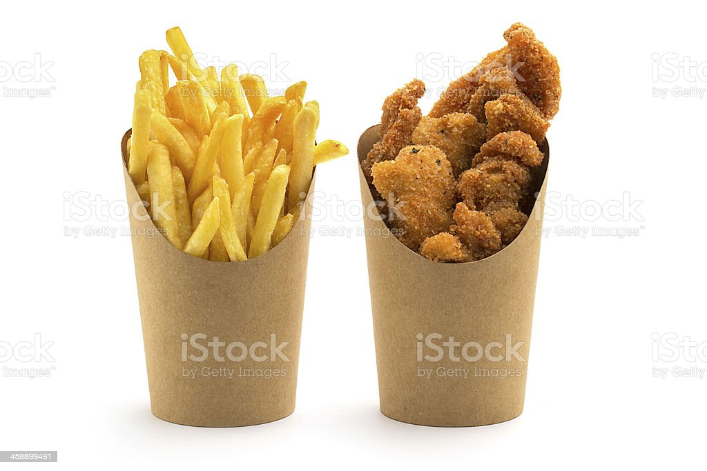 fries and nuggets stock photo