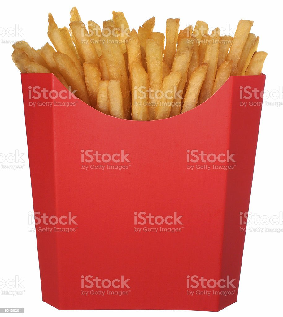 Fries in a red carton box stock photo