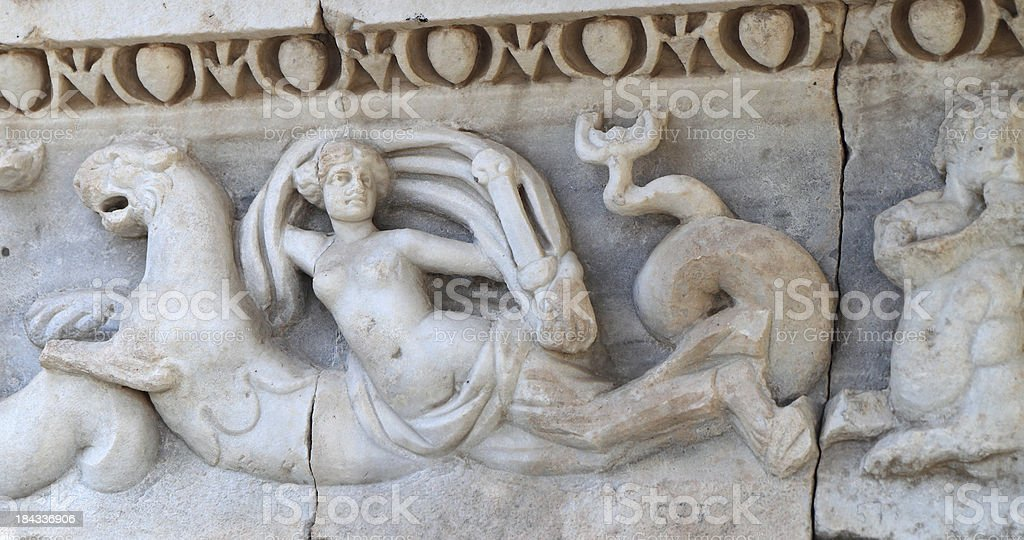 Frieze Fragment From The Great Bath Building, Side, Turkey royalty-free stock photo