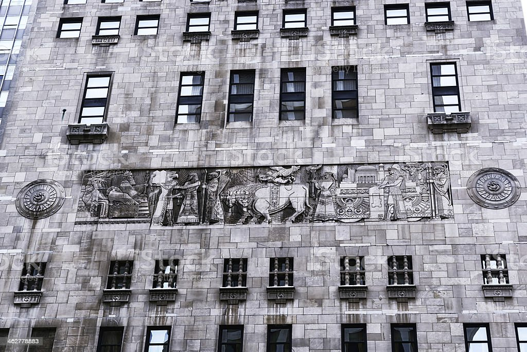 Frieze on wall of Intercontinental Hotel, Chicago stock photo