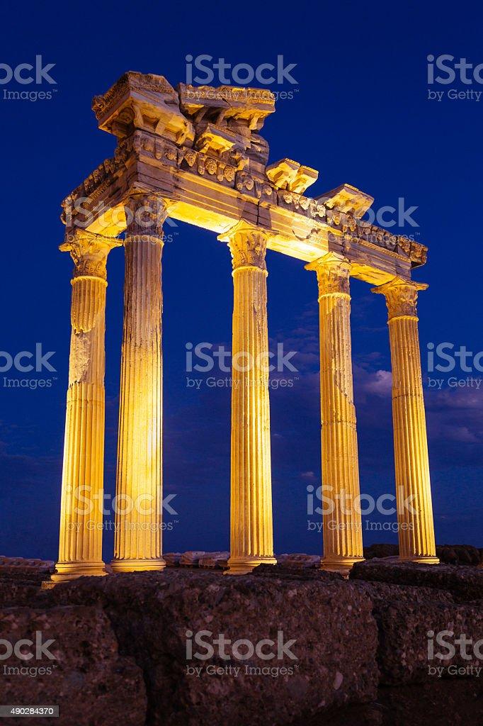 Frieze with Medusa heads, Temple of Apollo (Apollon) stock photo