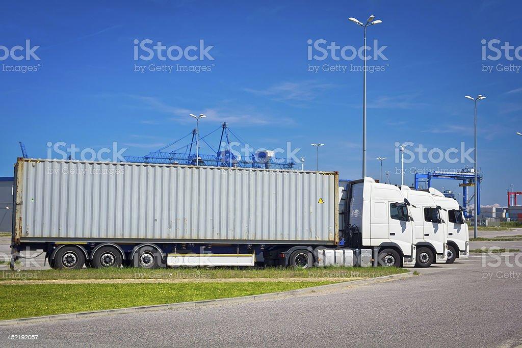 Fright trucks in row royalty-free stock photo