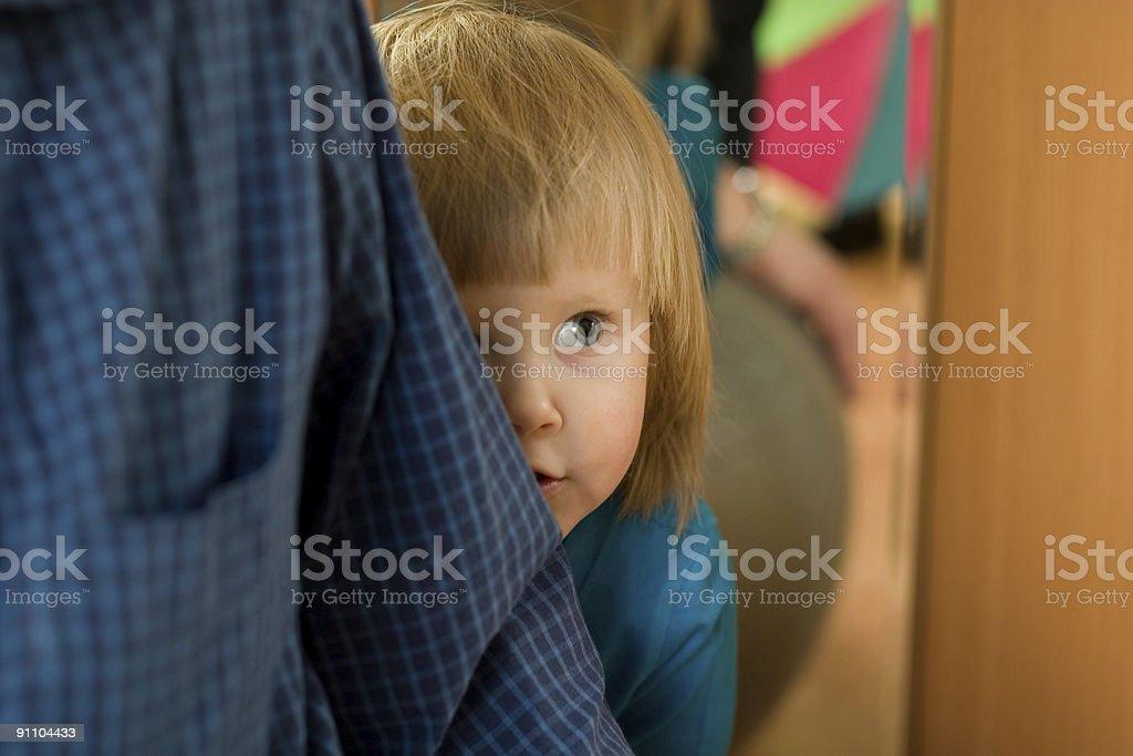 frightened little girl stock photo