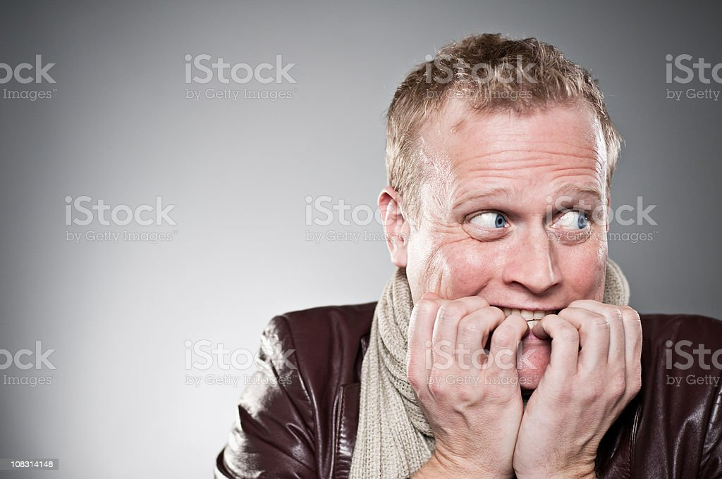 Frightened Man Portrait stock photo