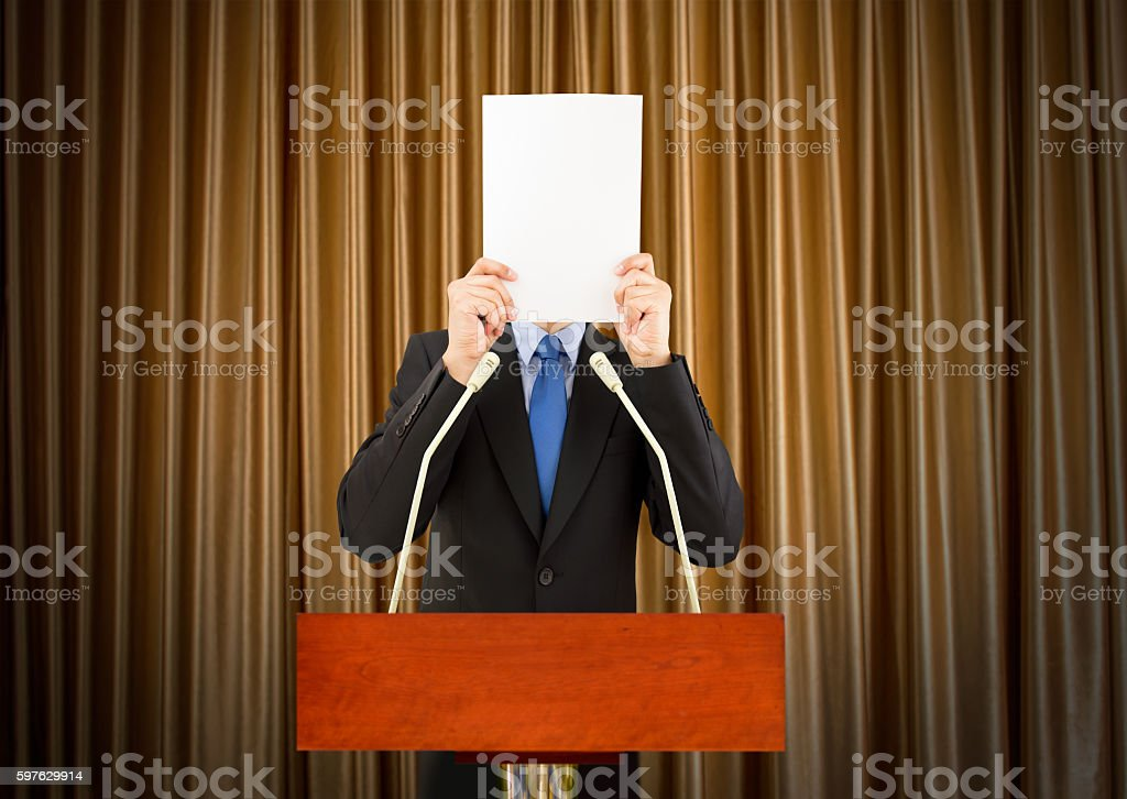 frightened to public speaking stock photo
