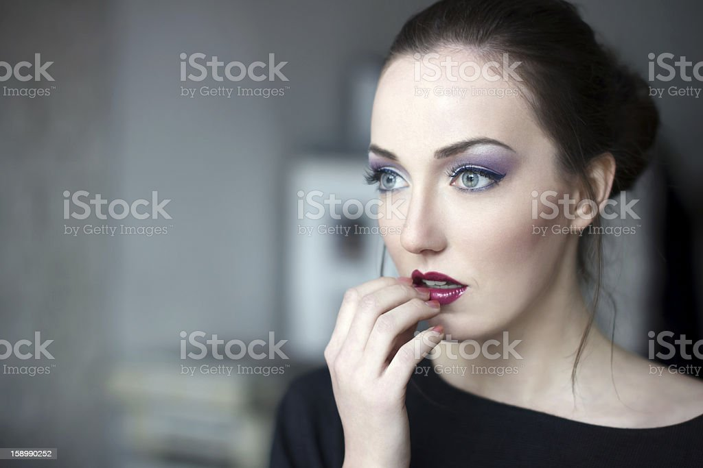 Frightened woman royalty-free stock photo