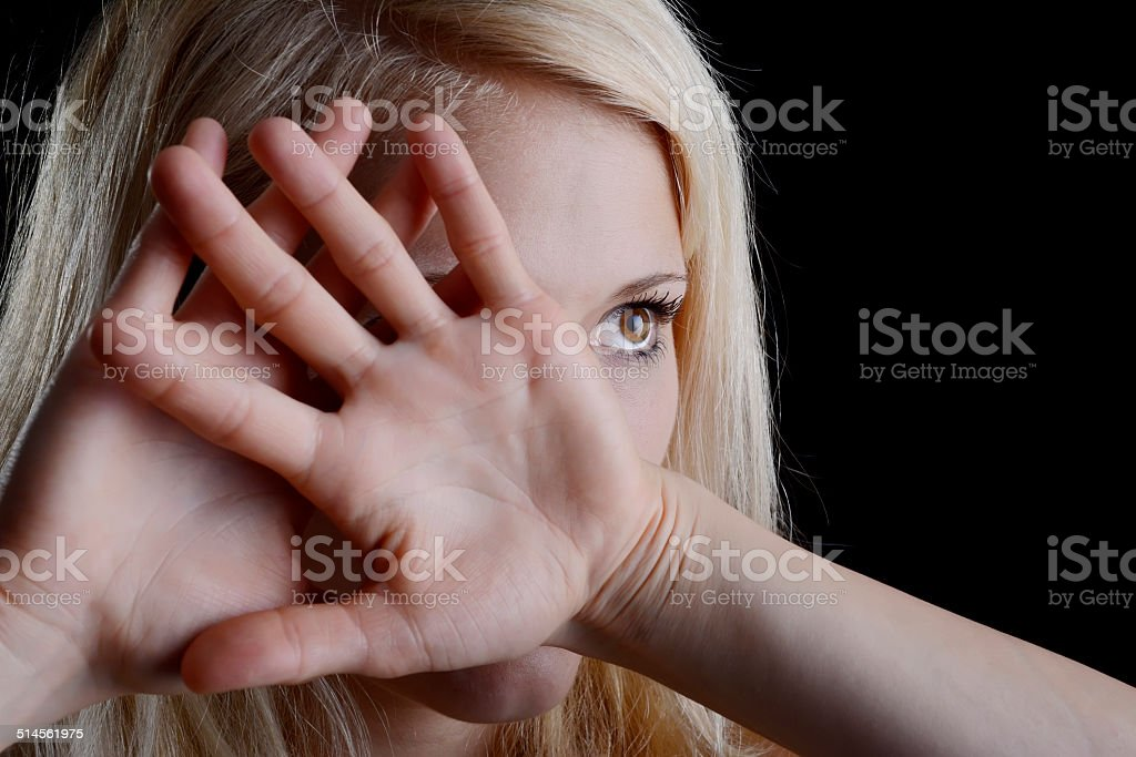 frightened woman stock photo