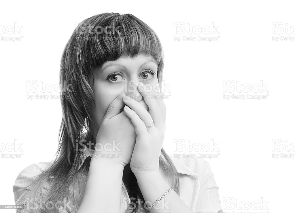 frightened young woman royalty-free stock photo