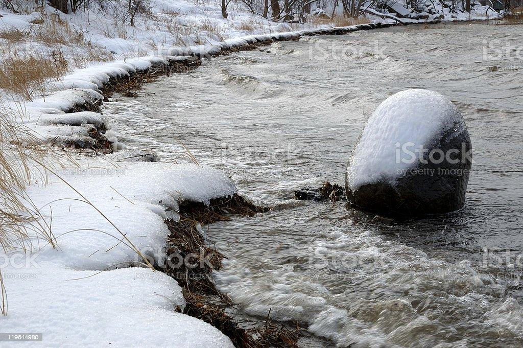 Frigid waters along the Ottawa River. stock photo