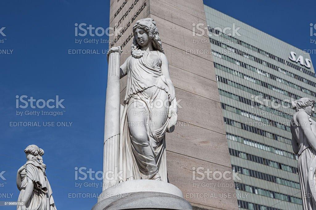 Frihedsstøtten, obelisk celebrating the abolishment of adscription, Copenhagen, Denmark stock photo