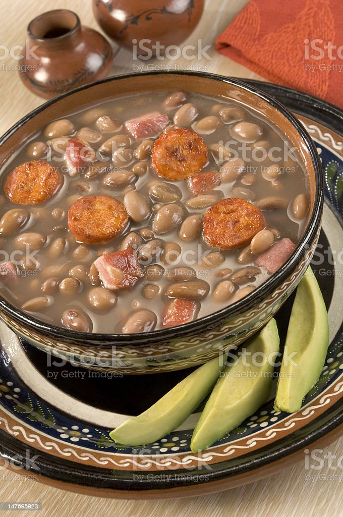 Frijoles Charros or Cowboy beans stock photo
