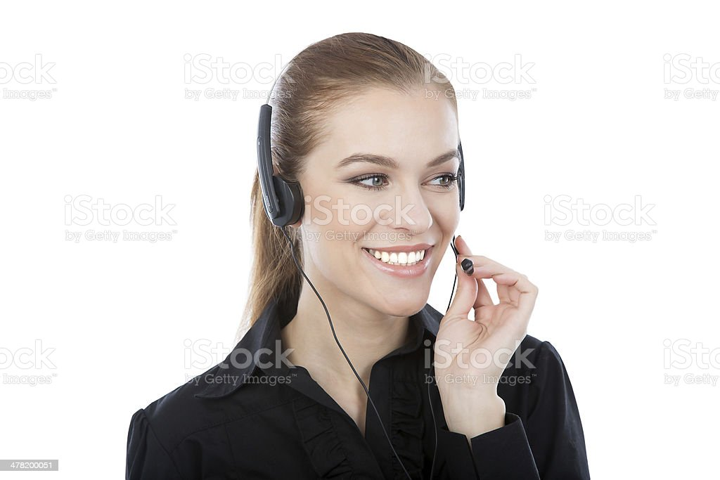 Frindly customer service worker. Smiling caucasian woman royalty-free stock photo