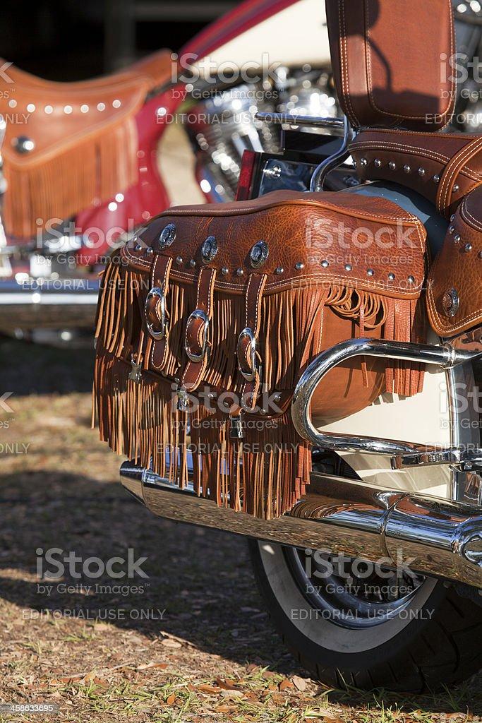 Fringe Leather saddlebags stock photo