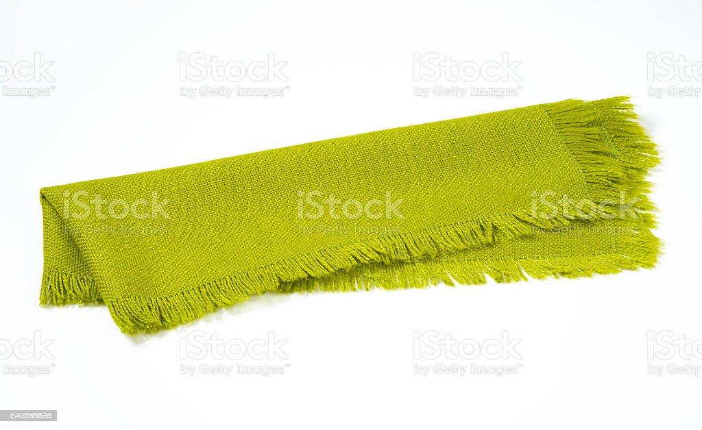 fringed green table runner stock photo