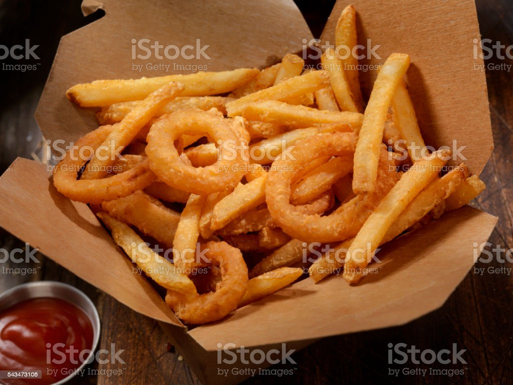 Frings - French Fries and Onion Ring Combo stock photo