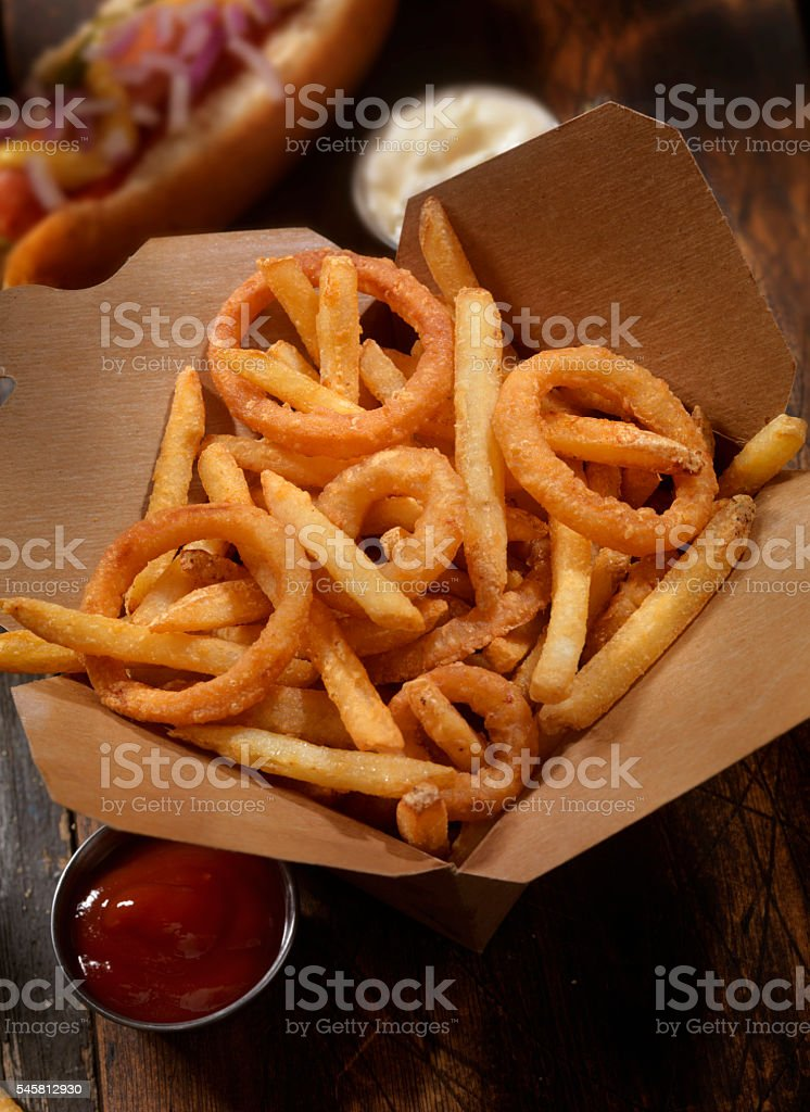 Frings - French Fries, Onion Rings and A hotdog stock photo
