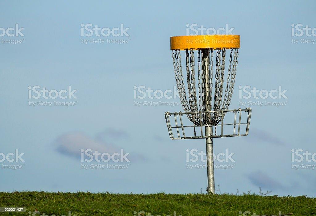 Frisbee golf basket stock photo