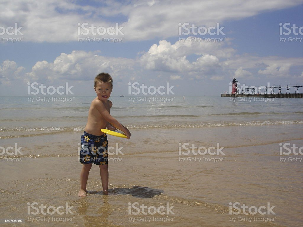 Frisbee on the Beach royalty-free stock photo