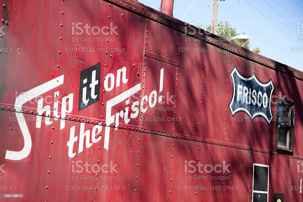 Frisco train car. Railroad station, old-fashioned, antique shipping container. stock photo