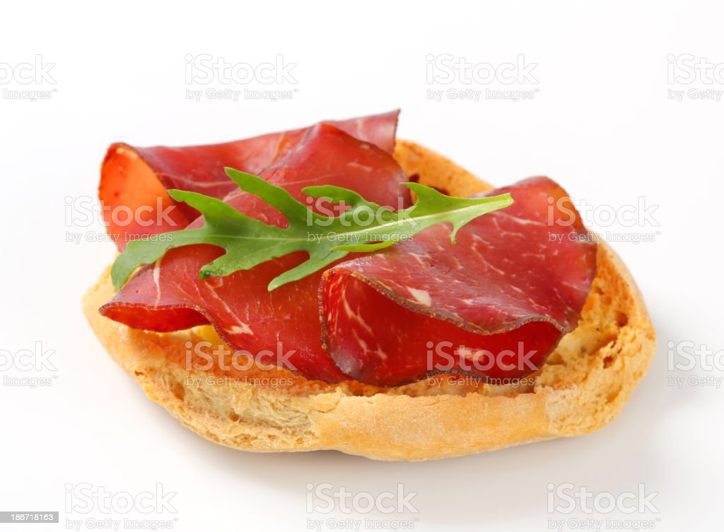 Friselle bread with smoked beef royalty-free stock photo