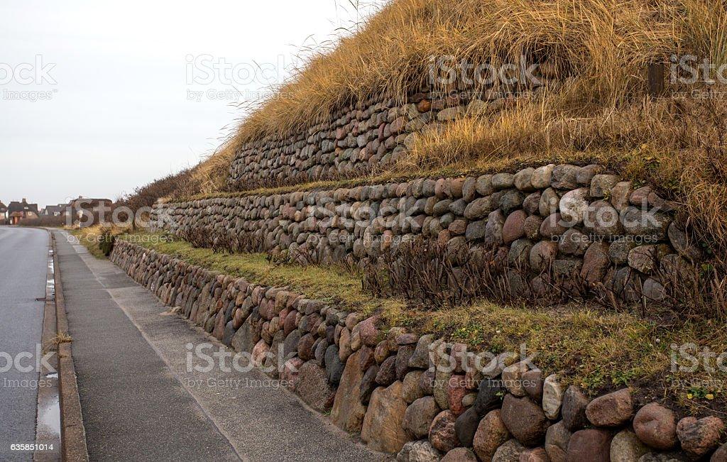 Frisian stone wall planted with European beach grass stock photo