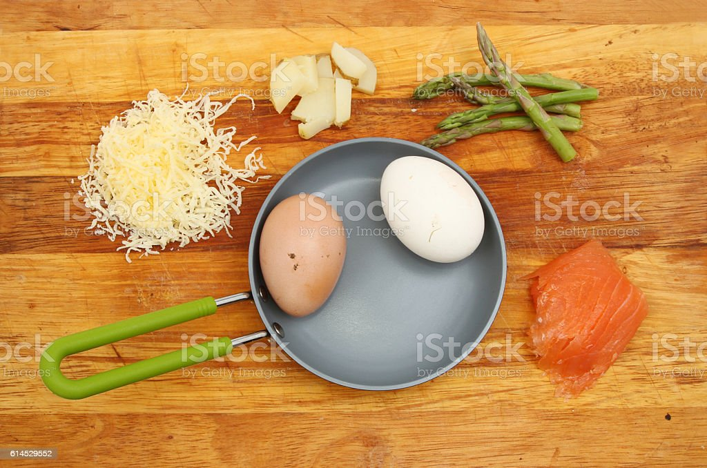 Frittata ingredients on a board stock photo