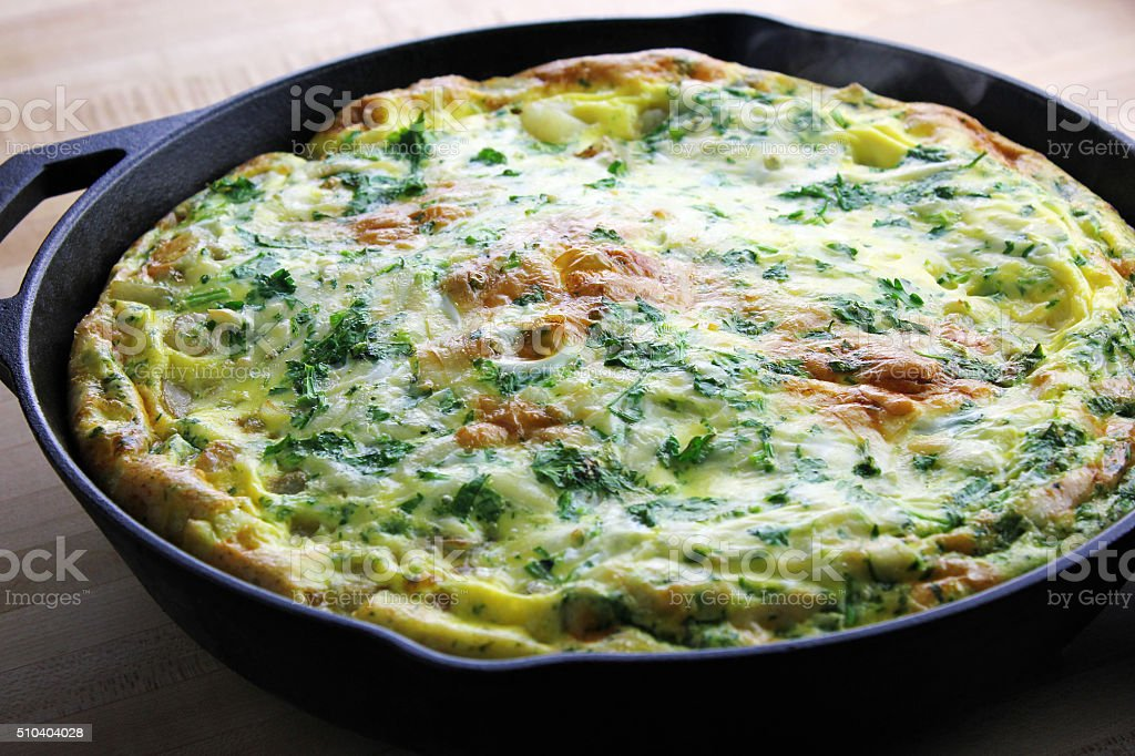 Frittata Lyonnaise stock photo