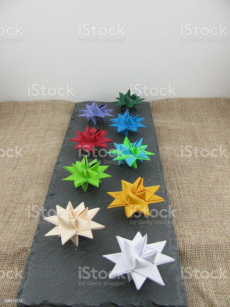 Froebel Stars on a slate plate stock photo