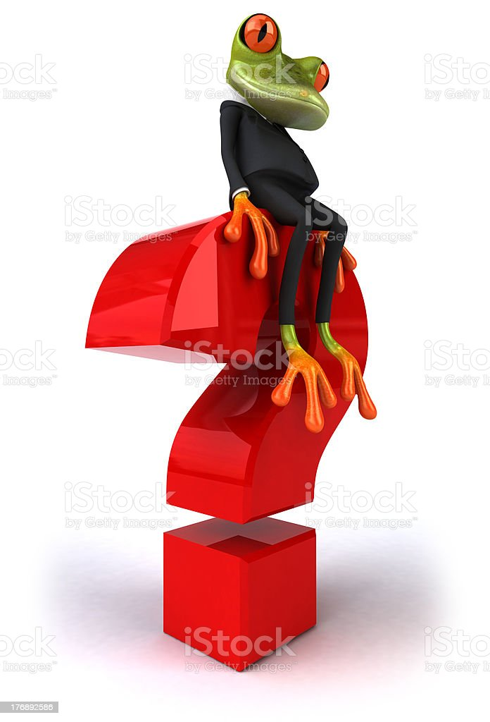 Frog and question royalty-free stock photo