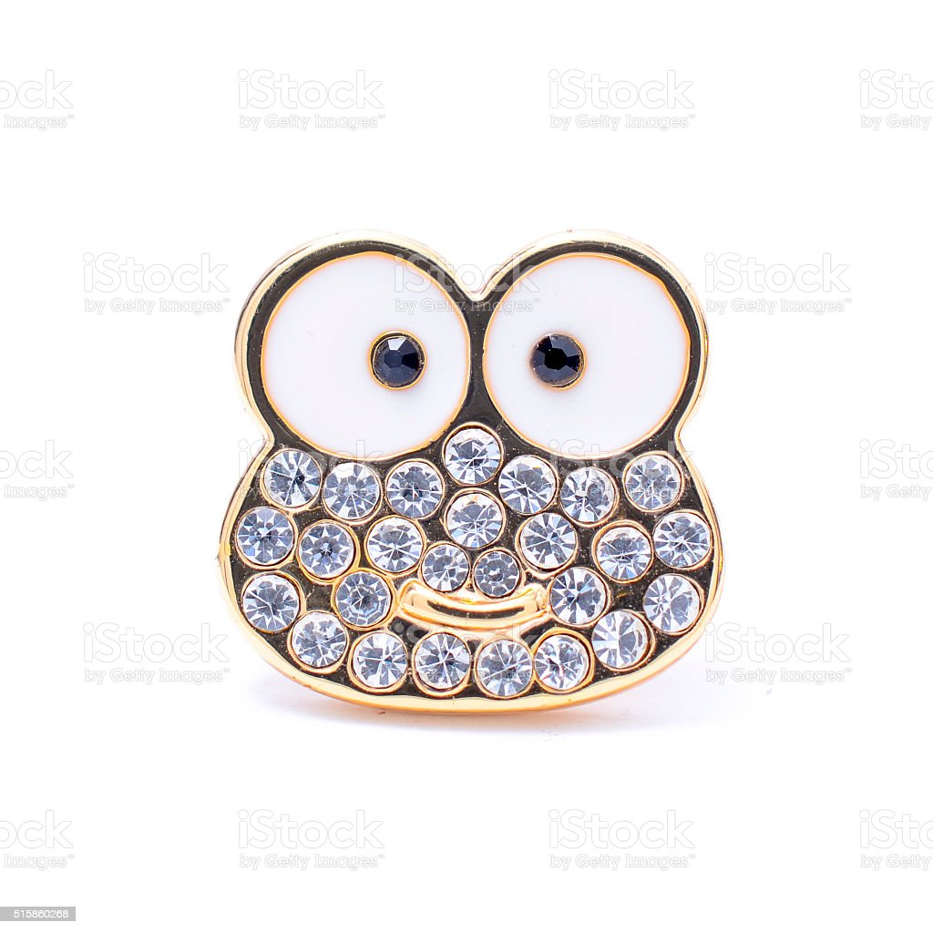 Frog brooch isolated on white stock photo