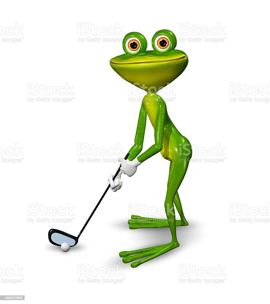 Frog golfer stock photo