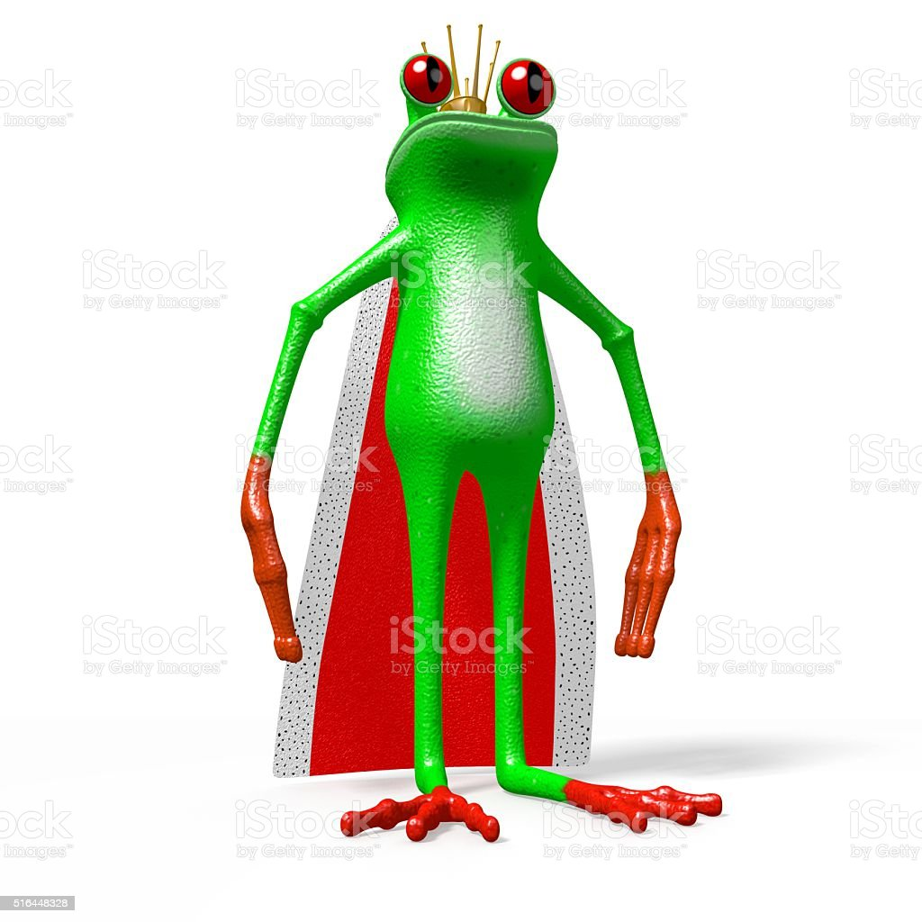 3D frog - king stock photo