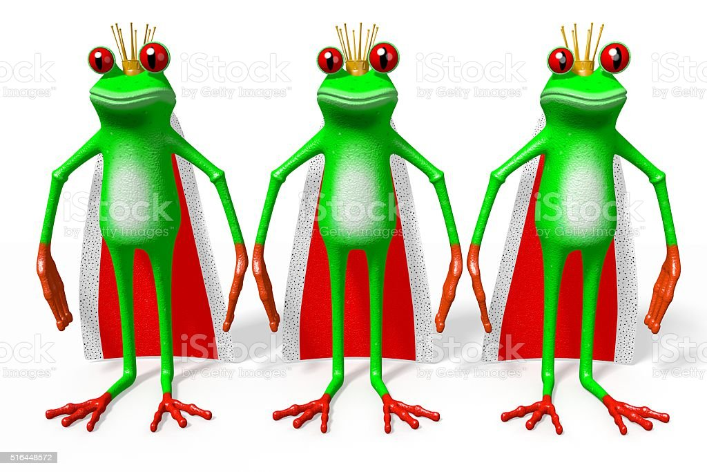 3D frog - kings stock photo