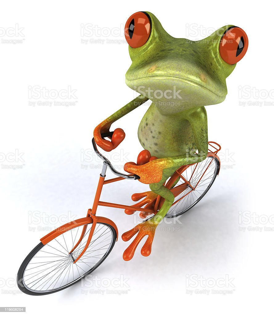 Frog on a bicycle royalty-free stock photo