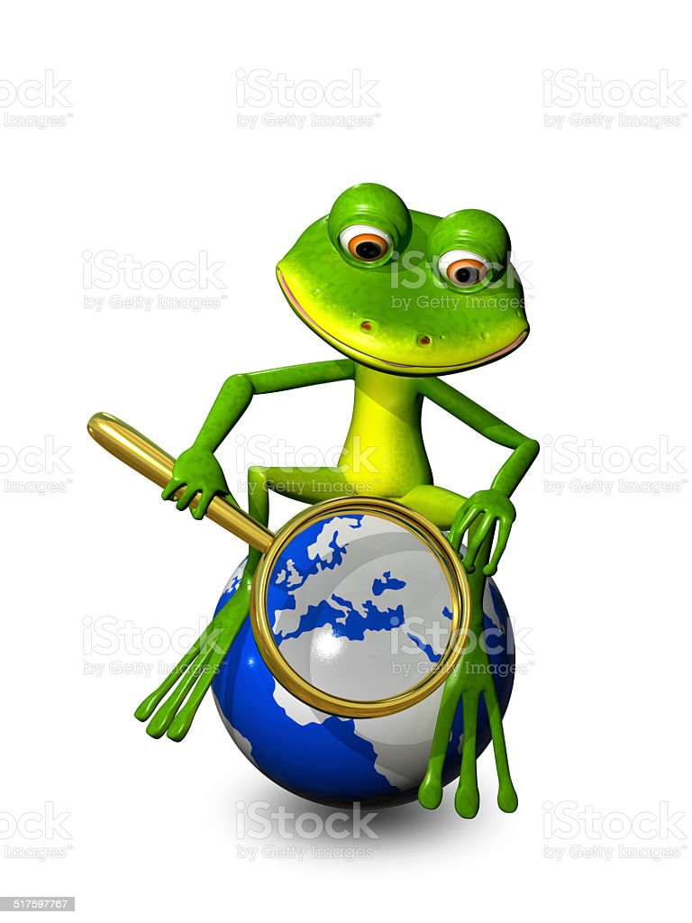 frog on a globe with a magnifying glass stock photo