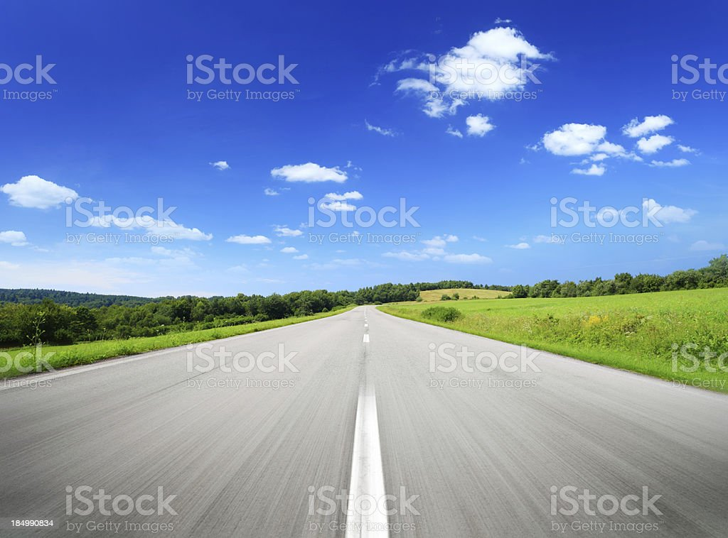 Frog Perspective Mountain Highway - summer landscape royalty-free stock photo