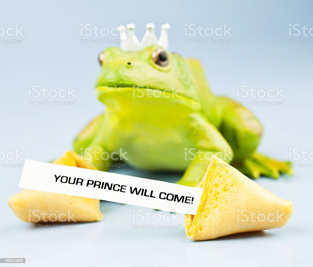 Frog Prince with Fortune Cookie Message royalty-free stock photo