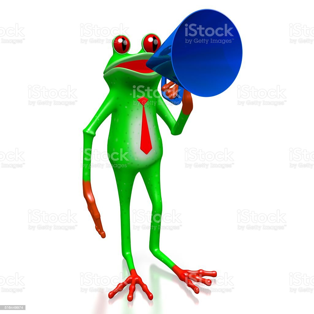 3D frog - public speaker concept stock photo