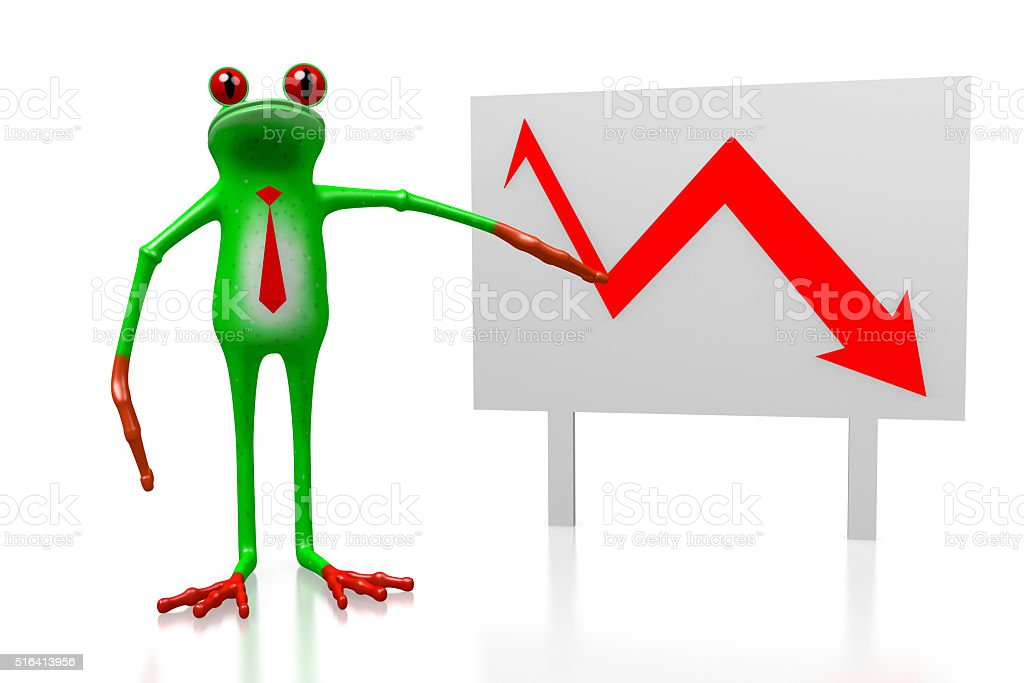 3D frog - recession concept stock photo
