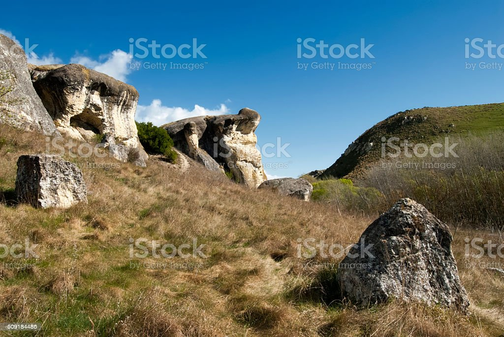 Frog Rock and farmland, Canterbury,New Zealand stock photo