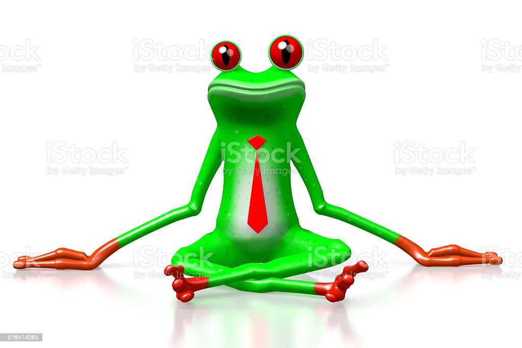 3D frog - sitting stock photo