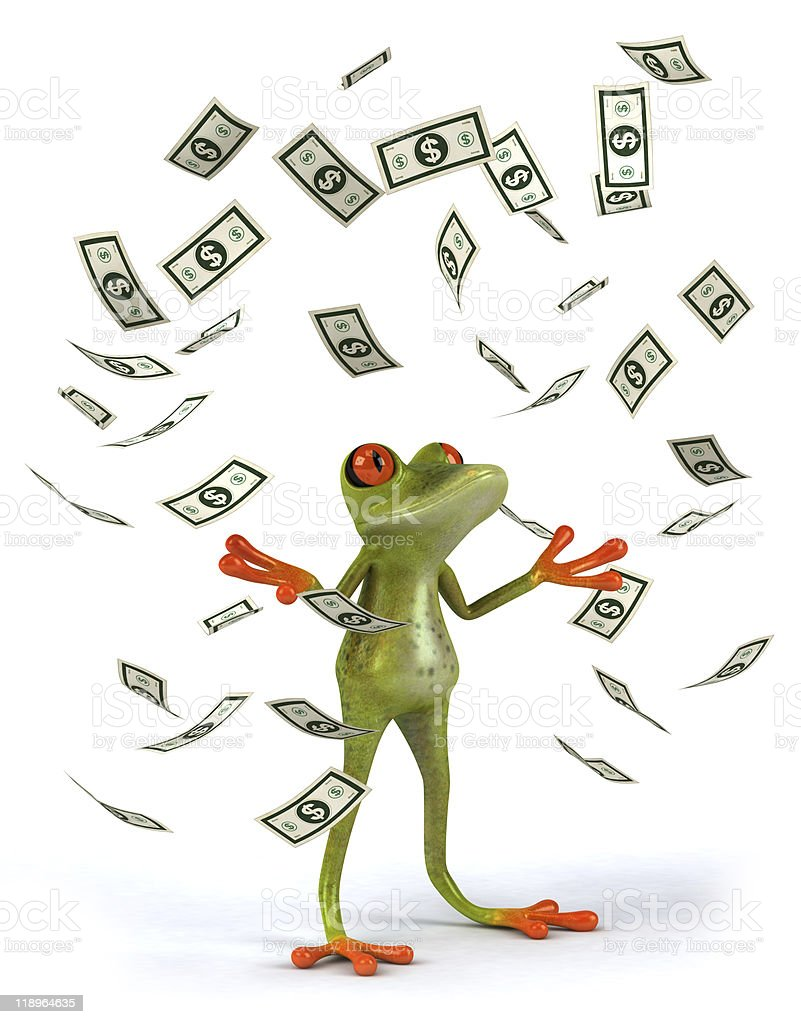 Frog with dollars stock photo