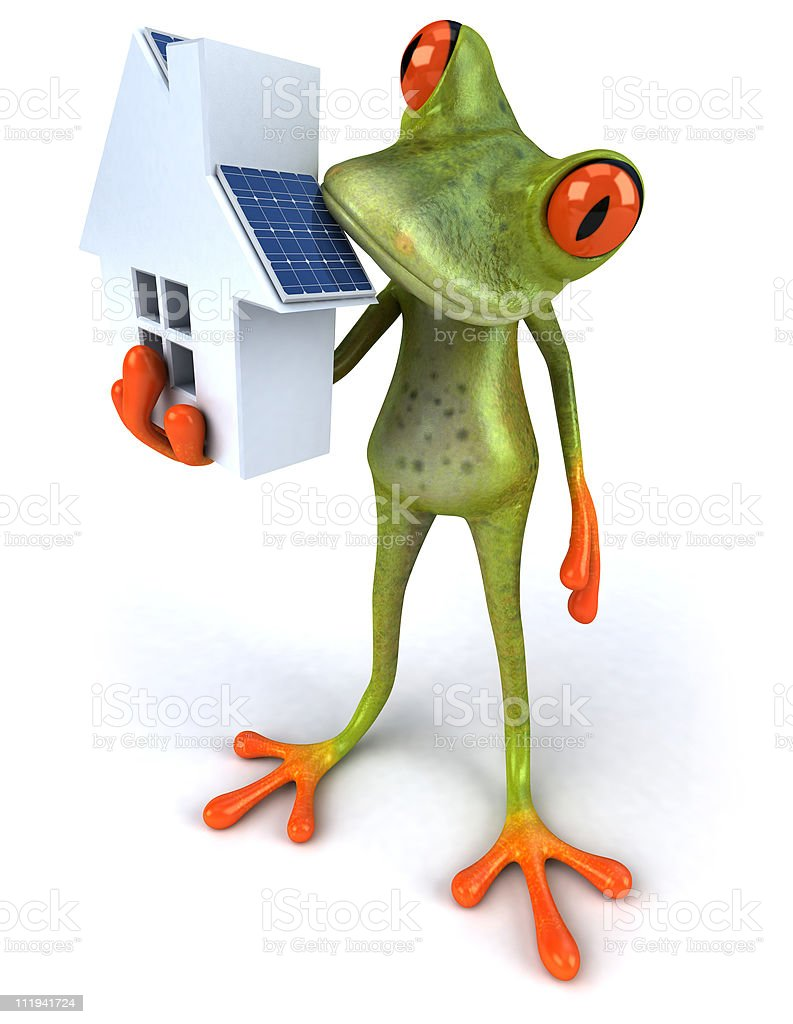 Frog with solar panels stock photo