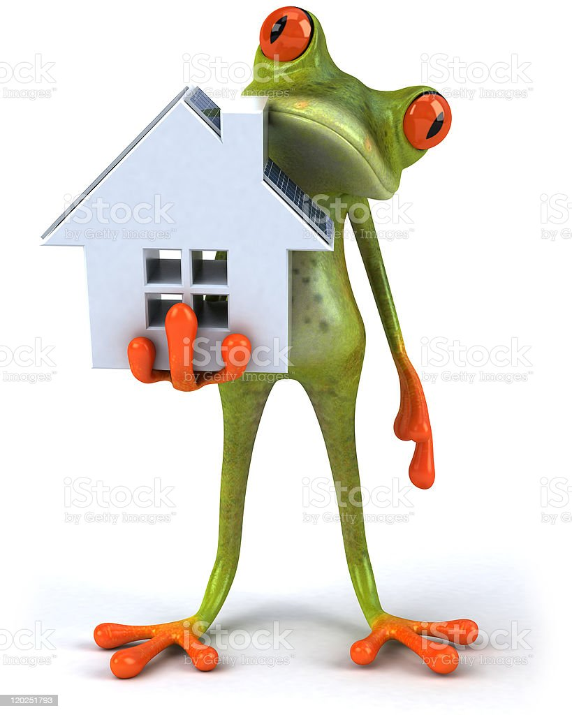 Frog with solar panels royalty-free stock photo