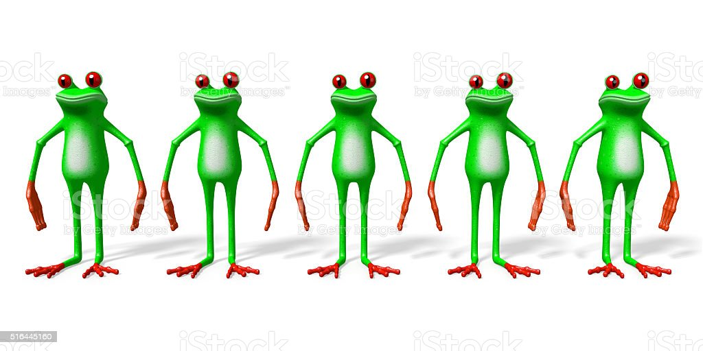3D frogs - five animals stock photo