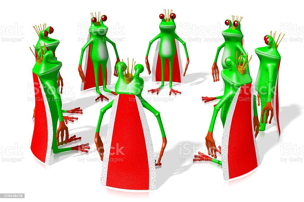 3D frogs - kings stock photo