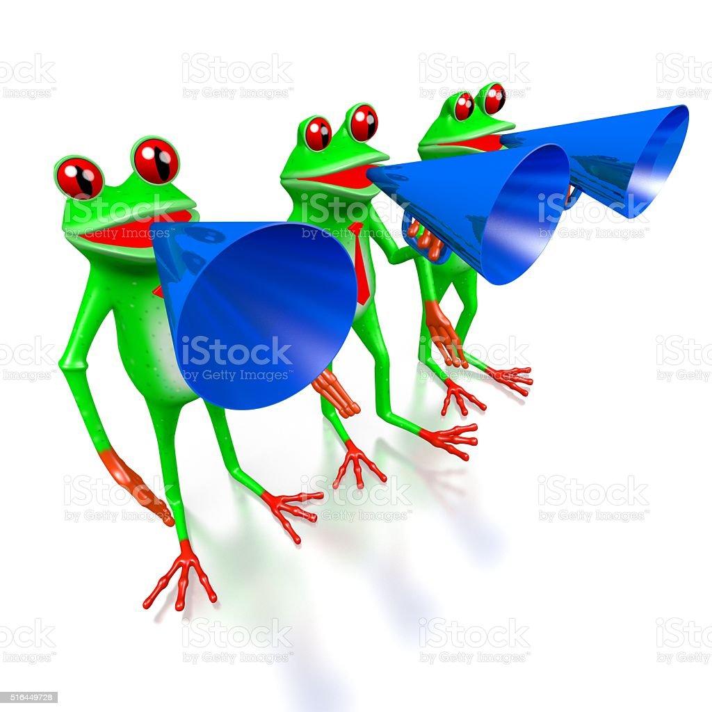 3D frogs - public speakers concept stock photo
