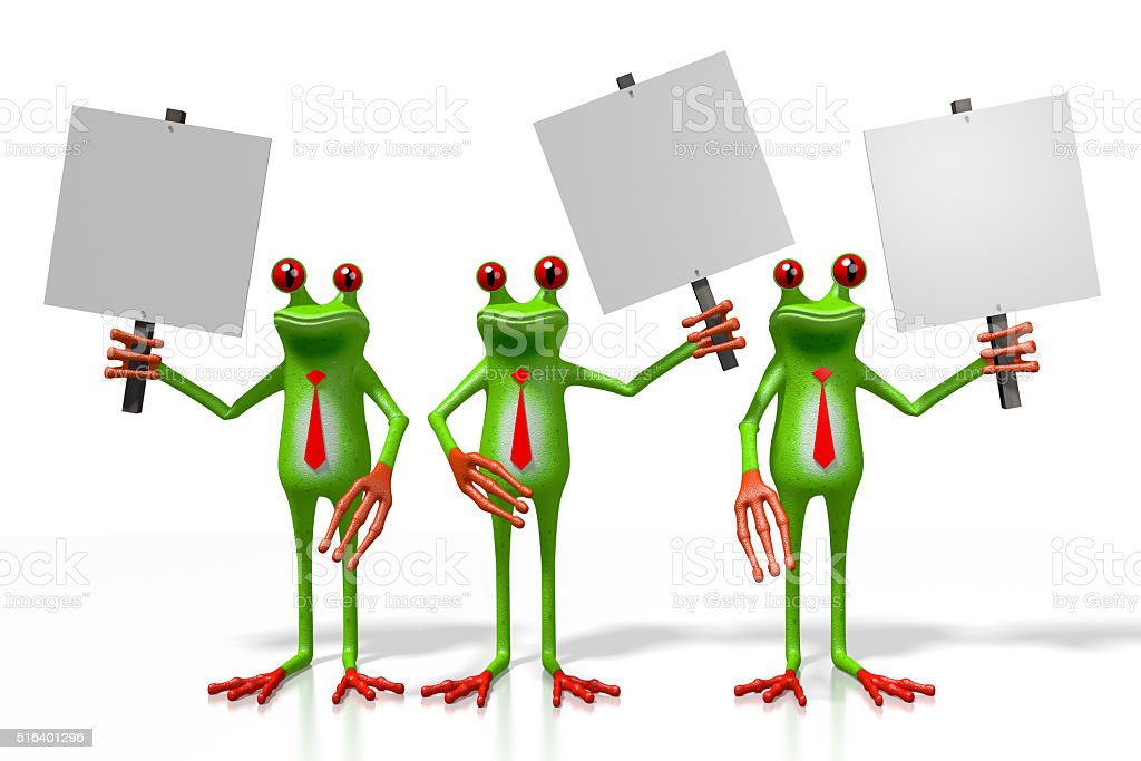 3D frogs with a signpost stock photo