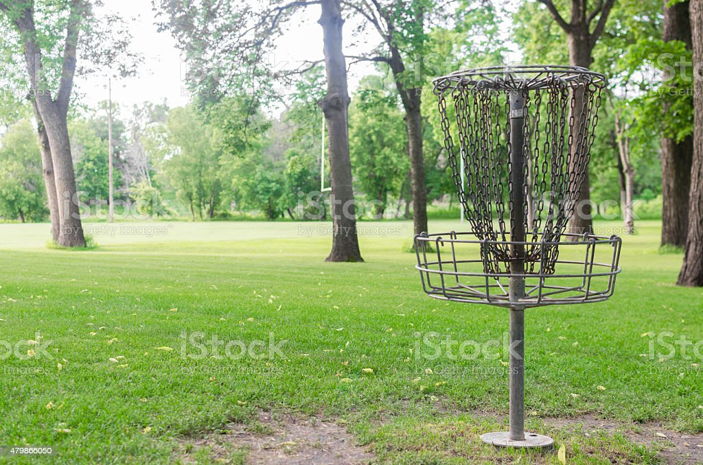 Frolfing (Disc Golf) Basket In A Public Park stock photo